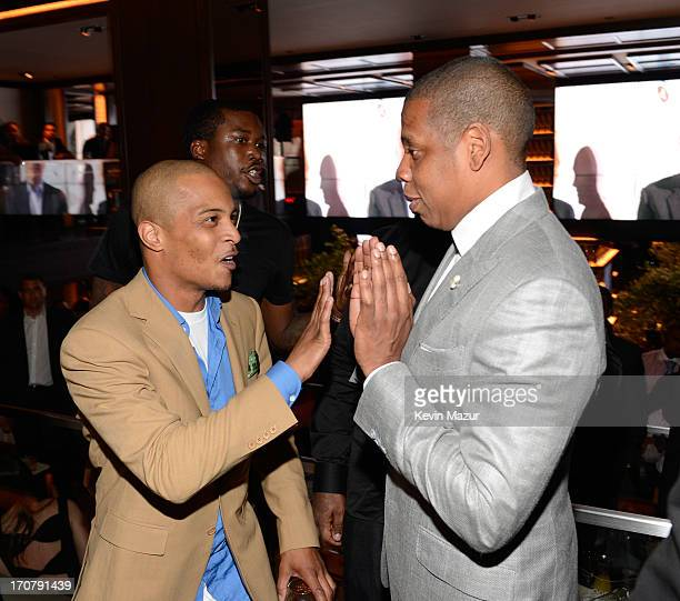 TI and JayZ attend The 40/40 Club 10 Year Anniversary Party at 40 / 40 Club on June 17 2013 in New York City