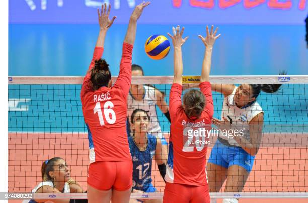 and JELENA BLAGOJEVIC of Serbia during FIVB Volleyball Nations League match between Argentina and Serbia at the stadium of the technological...