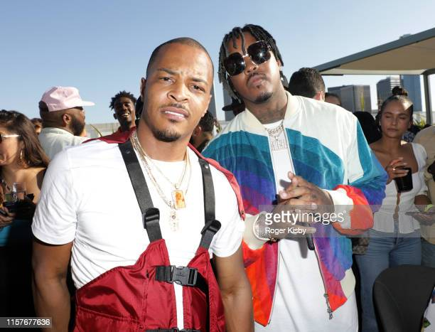 I and Jeremih attend The Def Jam Recordings BETX celebration at Spring Place Beverly Hills in partnership with Puma Courvoisier Beats and Heineken on...