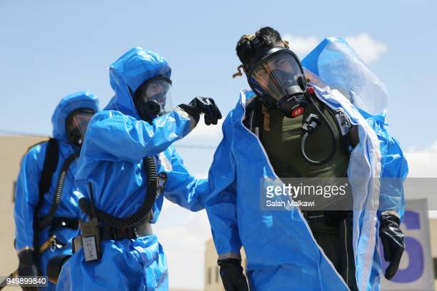 US and Jordanian soldiers participate in a chemical attack simulator to deal with any possible chemical attack during Eager Lion exercise at the...