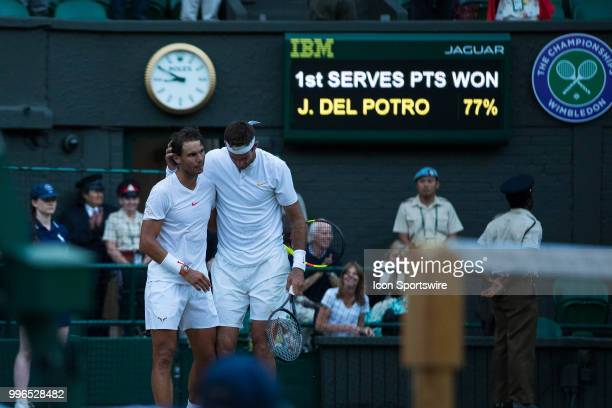 and JUAN MARTIN DEL POTRO during day nine match of the 2018 Wimbledon on July 11 at All England Lawn Tennis and Croquet Club in LondonEngland