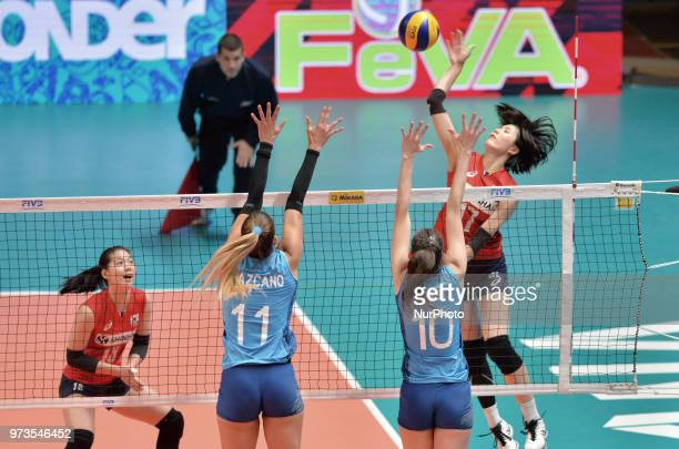 and JULIETA CONSTANZA LAZCANO of Argentina during FIVB Volleyball Nations League match between Argentina and South Korea at the stadium of the...