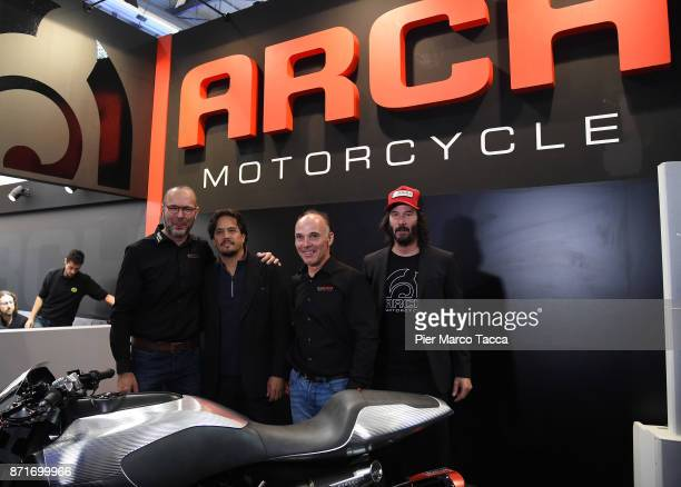and Keanu Reeves pose during the Arch press conference at EICMA 2017 the International Motorcycle Fair on November 8 2017 in Milan Italy