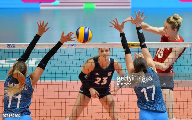 and KELSEY ROBINSON of USA in action against JULIETA CONSTANZA LAZCANO and HELENA VIDAL of Argentina during FIVB Volleyball Nations League match...