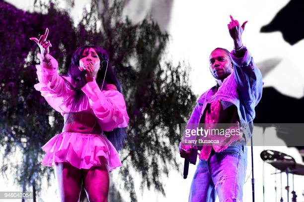 SZA and Kendrick Lamar perform onstage during the 2018 Coachella Valley Music And Arts Festival at the Empire Polo Field on April 13 2018 in Indio...