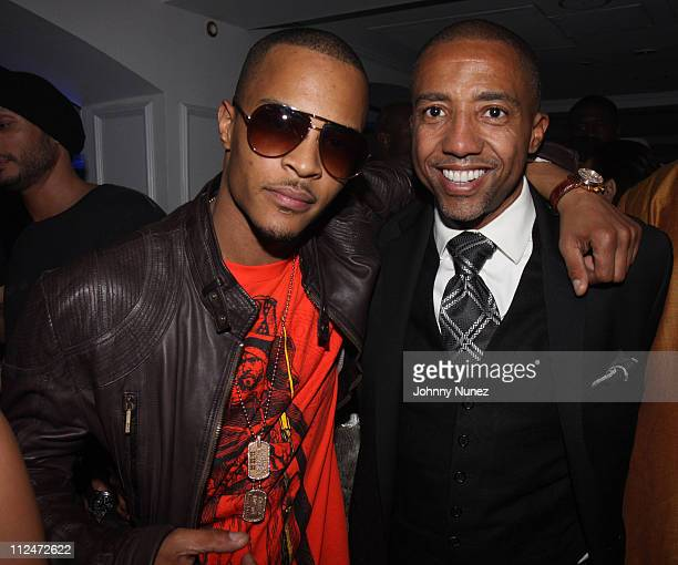 TI and Kevin Liles attend Timbaland's Grammy Party Presented by Verizon Blackberry on February 6 2009 in Los Angeles California