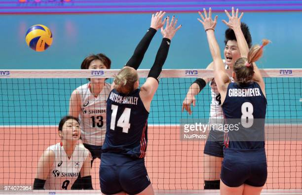 and LAUREN GIBBEMEYER of USA during FIVB Volleyball Nations League match between South Korea and USA at the stadium of the Technological University...