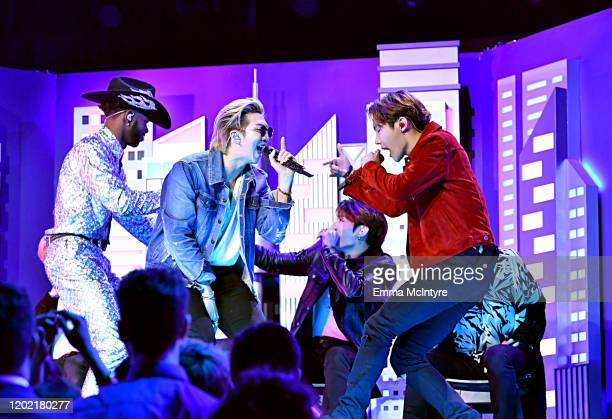 BTS and Lil Nas X perform onstage during the 62nd Annual GRAMMY Awards at STAPLES Center on January 26 2020 in Los Angeles California