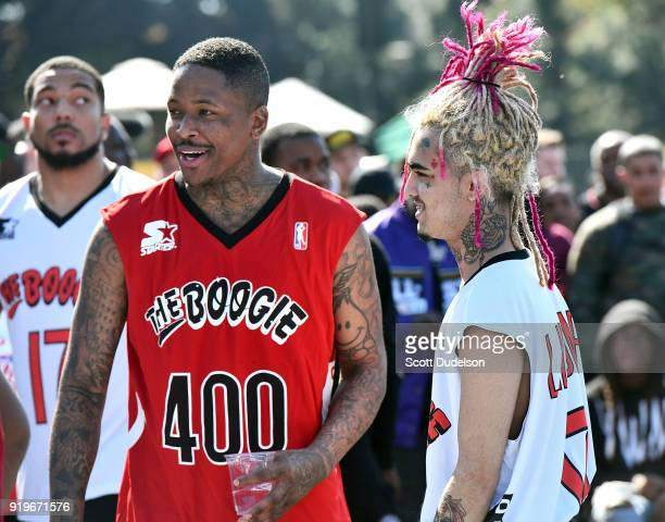 and Lil Pump attend the first annual Daytime Boogie Basketball Tournament at The Shrine Auditorium on February 17 2018 in Los Angeles California