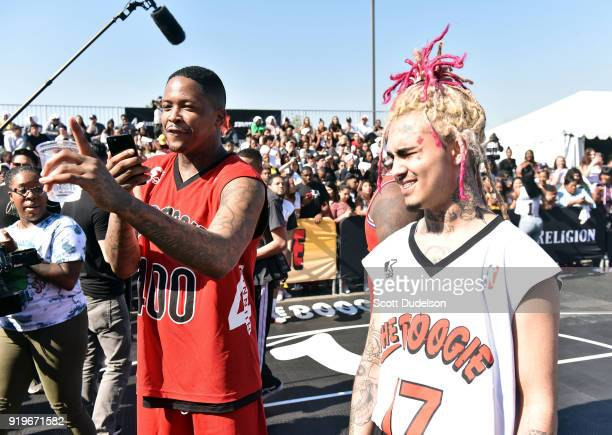 and Lil Pump attend the first annual YG and Friends Daytime Boogie Basketball Tournament at The Shrine Auditorium on February 17 2018 in Los Angeles...