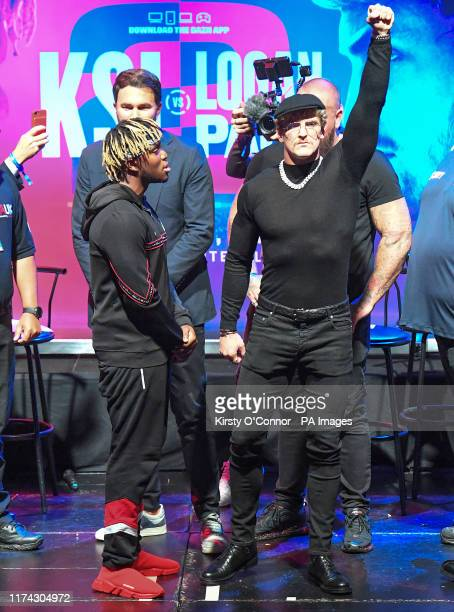KSI and Logan Paul during the press conference at Troxy London