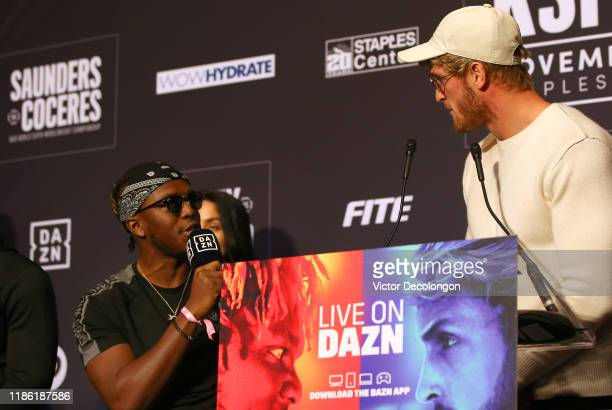 and Logan Paul exchange verbal jabs onstage during the KSI VS Logan Paul 2 Final Press Conference at TAO Hollywood on November 07 2019 in Los Angeles...