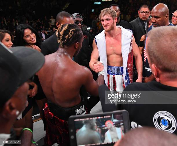 and Logan Paul shake hands in the ring after their pro debut fight at Staples Center on November 9 2019 in Los Angeles California KSI won by decision