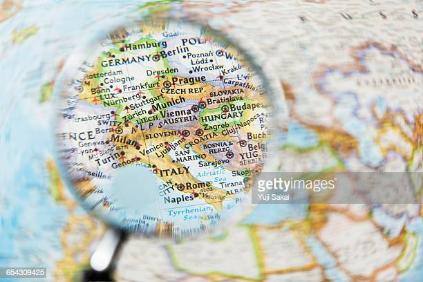 AUSTRIA, CROATIA  and Magnifying glass