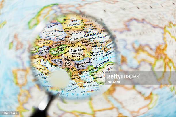 ROMANIA, HUNGARY, BULGARIA and Magnifying glass