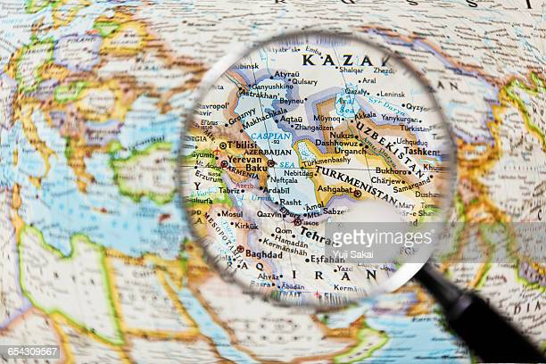 CASPIAN SEA  and Magnifying glass