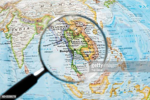 THAILAND,   CAMBODIA   and Magnifying glass