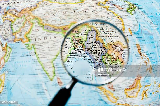 MYANMAR and Magnifying glass