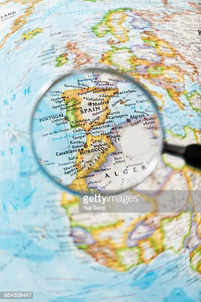 GIBRALTAR,SPAIN  ,PORTUGAL, MOROCCO and Magnifying