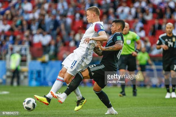 FINNBOGASON and MARCOS ROJO during the match between Argentina and Iceland valid for the first round of Group D of the 2018 World Cup held at the...