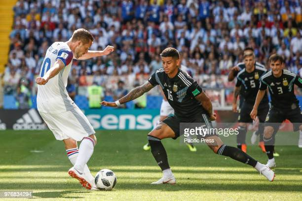 G SIGURDSSON and MARCOS ROJO during the match between Argentina and Iceland valid for the first round of group D of the 2018 World Cup held at the...