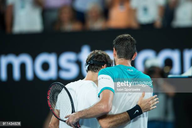 and MARIN CILIC during day fourteen match of the 2018 Australian Open on January 28 2018 at Melbourne Park Tennis Centre Melbourne Australia