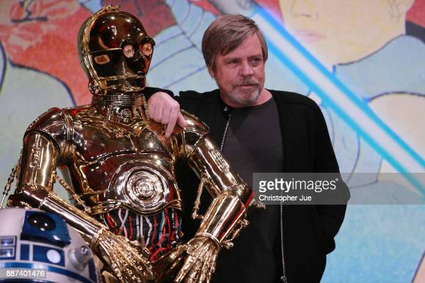 C3PO and Mark Hamill attend the 'Star Wars The Last Jedi' press conference at the Ritz Carlton Tokyo on December 7 2017 in Tokyo Japan