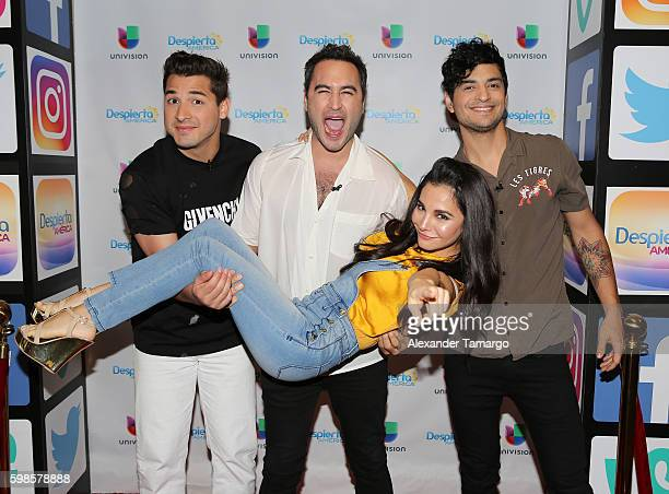 REIK and Martha Higareda are seen on the set of Despierta America to promote the film No Manches Frida at Univision Studios on September 1 2016 in...