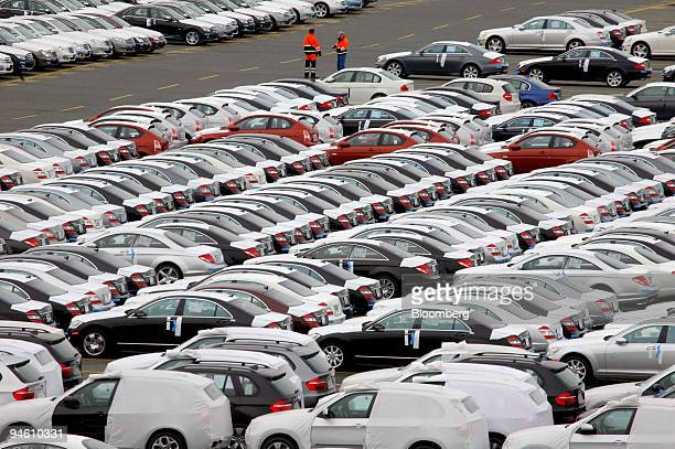 BMW and Mercedes Benz await export at the NTB North Sea Terminal in Bremerhaven Germany on Monday Oct 1 2007 Bremerhaven is one of Germany's largest...