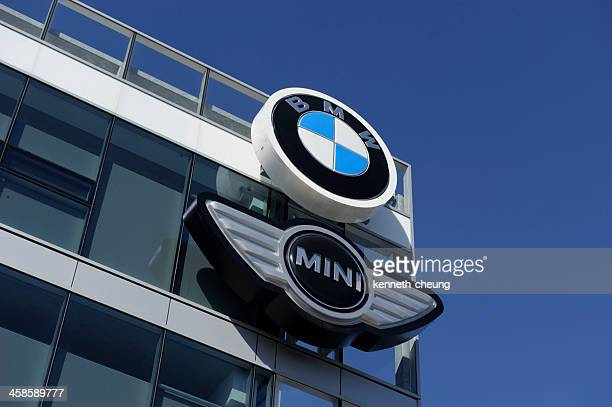 bmw and mini signage - canada headquarters - mini cooper stock pictures, royalty-free photos & images