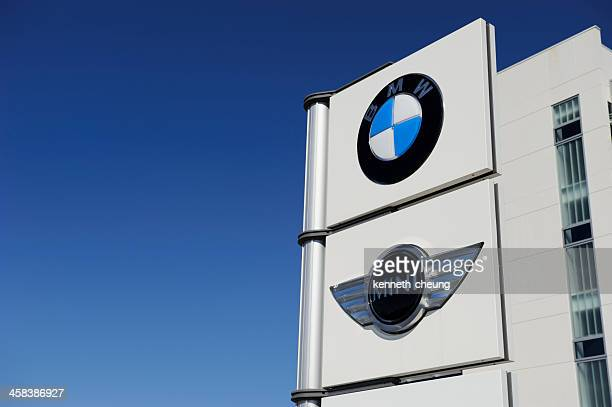 bmw and mini signage - bmw stock pictures, royalty-free photos & images