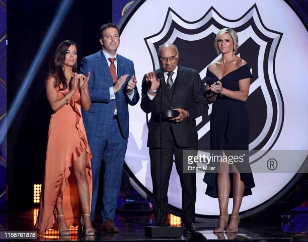 NHL and MLB host Jackie Redmond sportscaster Elliotte Friedman Hockey Hall of Fame member Willie O'Ree and sportscaster Kathryn Tappen present the...