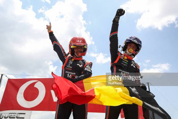 and NICOLAS GILSOUL in HYUNDAI I20 COUPE WRC of HYUNDAI SHELL MOBIS WRT winner of the rally during the SS20 Fafe 2 of WRC Vodafone Rally de Portugal...