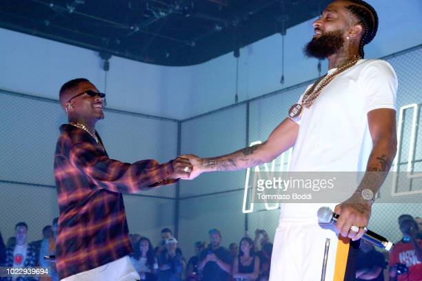 and Nipsey Hussle perform during EA SPORTS NBA Live 19 at Goya Studios on August 24 2018 in Los Angeles California