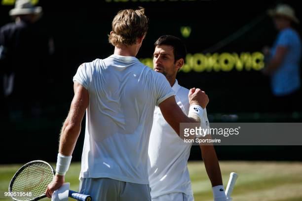 and NOVAK DJOKOVIC during day thirteen match of the 2018 Wimbledon on July 15 at All England Lawn Tennis and Croquet Club in LondonEngland