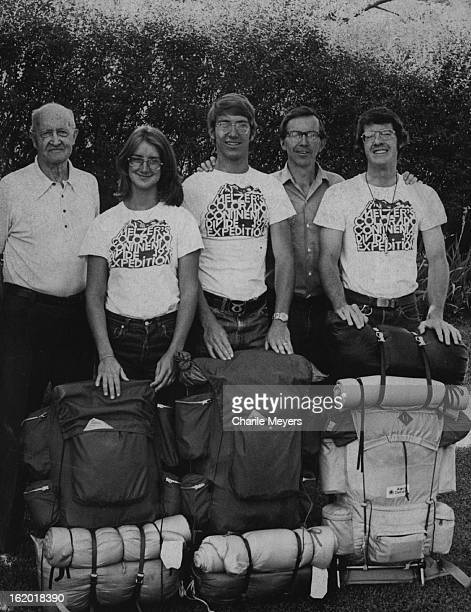 JUL 5 1976 JUL 7 1976 And Now On Eve Of Most Recent Expedition Carl Judy Tom and Bob Melzer join Jim Beblavi in pose just as younger trio left Denver...