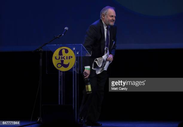 MEP and nternational trade spokesman William Dartmouth speaks at the UKIP South West regional conference at the Weymouth Pavilion on March 4 2017 in...