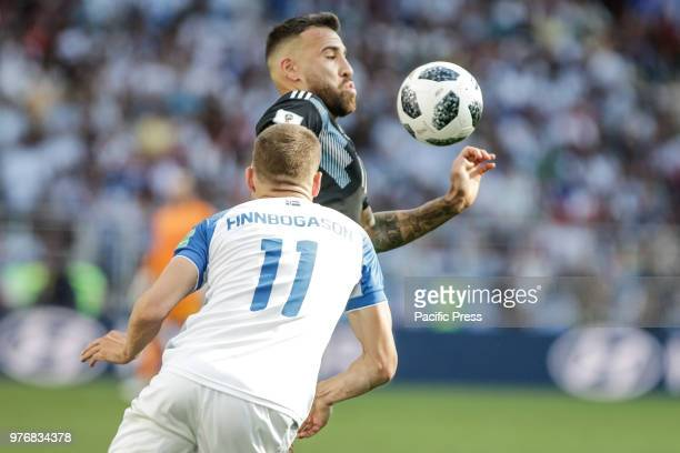 FINNBOGASON and OTAMENDI during match between Argentina and Iceland valid for the first round of group D of the 2018 World Cup held at the Spartak...