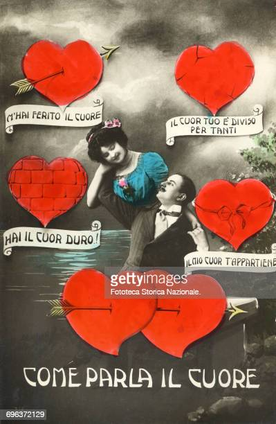 Thou hast a hard heart *** and other messages for the sweetheart in a postcard that ritrae an encircled tenderly embraced brace from four figured...