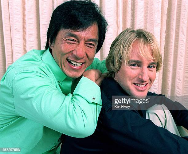 CHAN and OWEN WILSON star as unlikely partners in comedy Western in a new movie coming out called Shanghai Noon Photo taken at Four Seasons Hotel...
