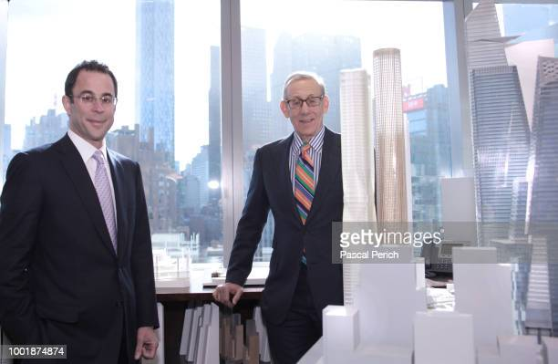 CEO and partner of Related Companies Jeff Blau and chairman Steve Ross are photographed on November 20 2013 with a model of the Hudson Yards at the...