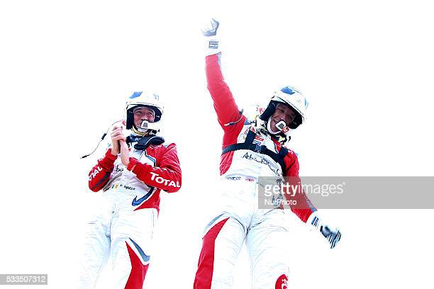 MEEKE and PAUL NAGLE in CITROEN DS3 WRC of team ABU DHABI TOTAL WORLD RALLY TEAM celebrates the victory of the rally during the SS19 Fafe of the WRC...