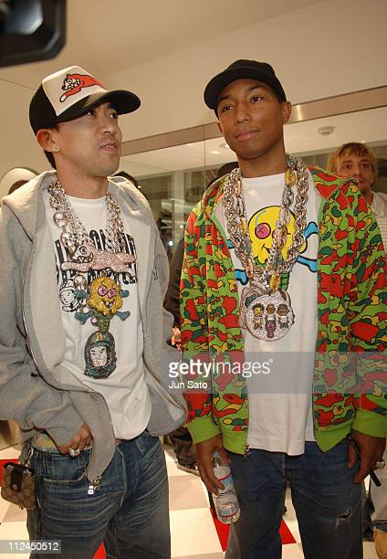 NIGO and Pharrell Williams of N*E*R*D during 'The Ice Cream Store' Reception and Opening Party at ICE CREAM STORE in Tokyo Japan