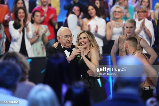 And Pippo Baudo and Lorella Cuccarini attend the Buon Compleanno Pippo tv show at RAI Auditorium on June 02, 2019 in Rome, Italy.