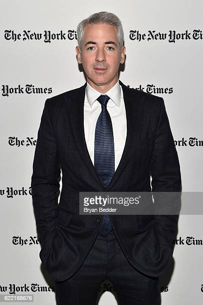 And Portfolio Manager Pershing Square Capital Management L.P. William Ackman poses backstage at The New York Times DealBook Conference at Jazz at...