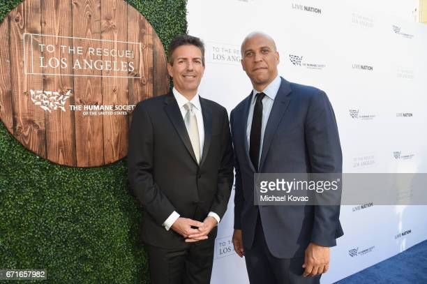 CEO and President Humane Society of the United States Wayne Pacelle and Honoree United States Senator Cory Booker at The Humane Society of the United...