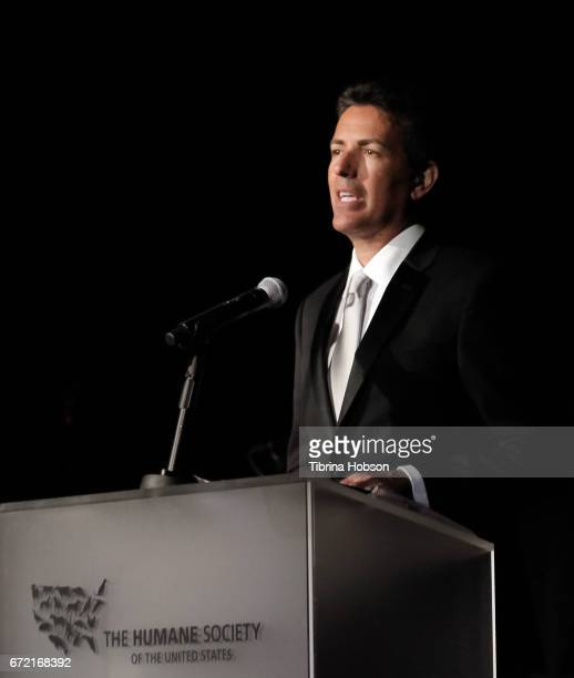 CEO and President Humane Society of the United States Wayne Pacelle speaks on stage at the Humane Society's annual 'To The Rescue' Gala on April 22...