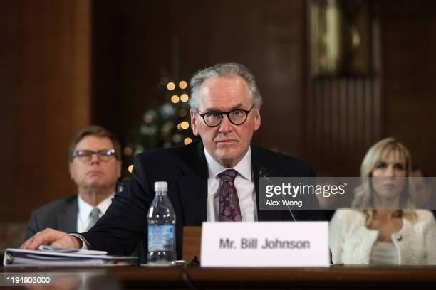 And President of Pacific Gas and Electric Company Bill Johnson testifies during a hearing before Senate Energy and Natural Resources Committee...