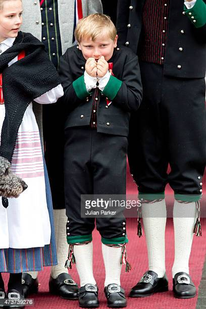 and Prince Sverre Magnus of Norway attends the traditional morning children's parade at their home Skaugum in Asker near Oslo on Norway's National...