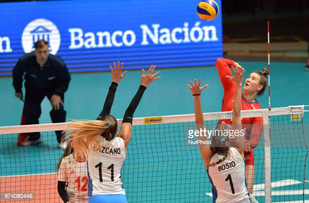 and PRISCILA BOSIO of Argentina during FIVB Volleyball Nations League match between Argentina and Serbia at the stadium of the technological...